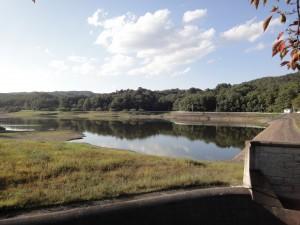 牛野ダム堤体上部からダム湖
